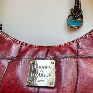 Dooney & Bourke Red Leather Croc Style Handbag.